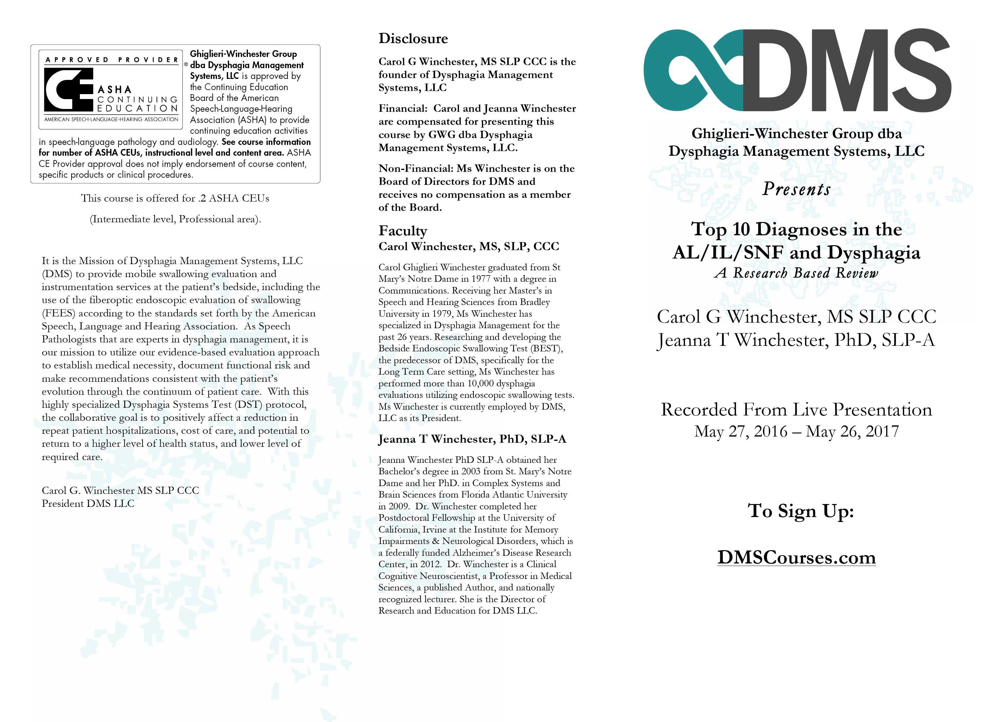 GWG AAOQ1416 - Top 10 Diagnosis in the AL-IL-SNF and Dysphagia Page 1