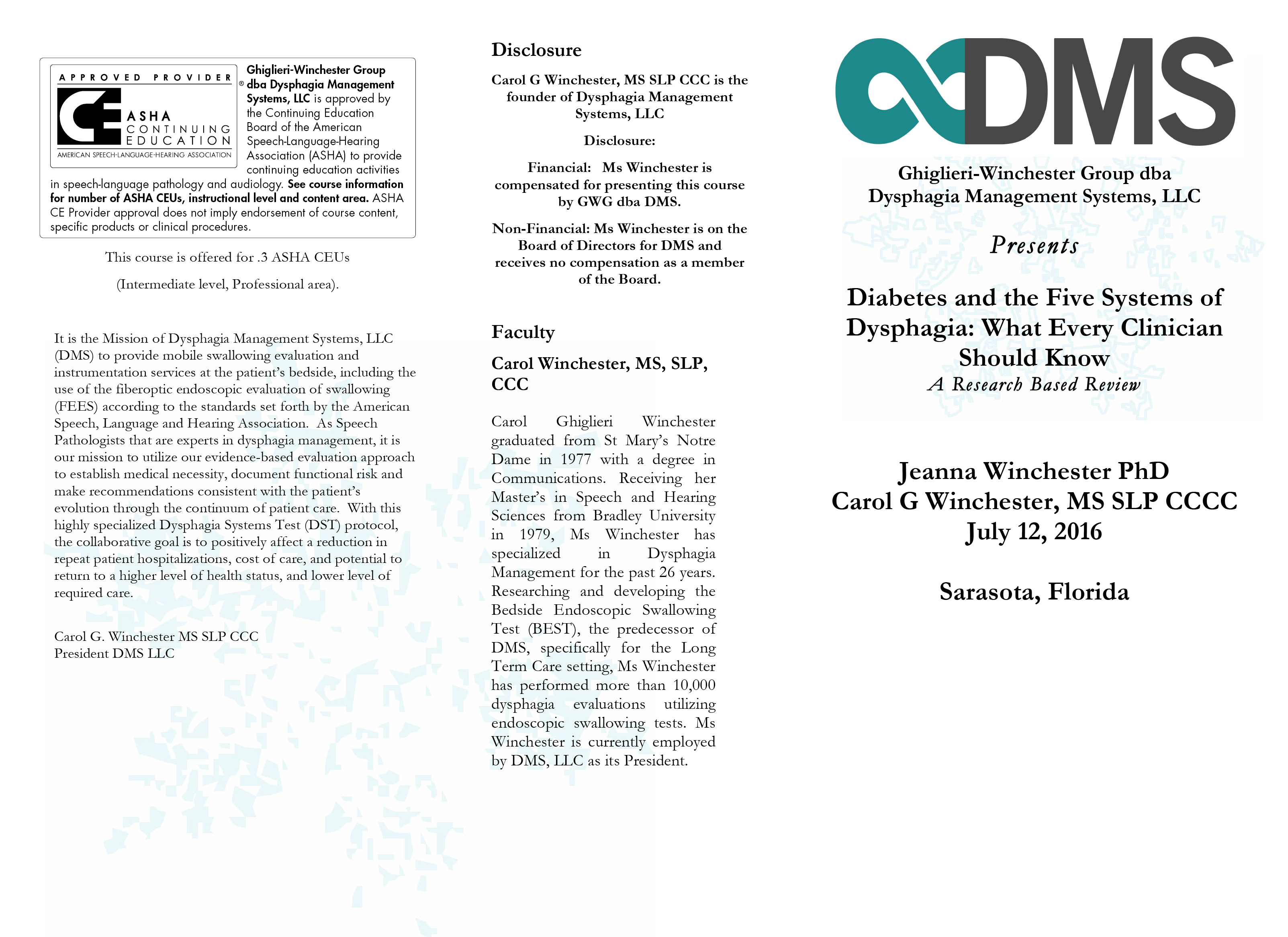 GWG-2916 Diabetes and The Five Systems Of Dysphagia, What Every Clinician Should Know 1